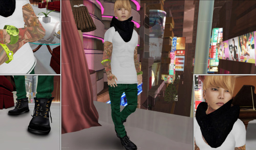 Location: Virtual Asia OUTFIT Shirt: [NSD] Rebel Tshirt white Pants: AMERIE M - Mesh Skinny pants_Green Shoes: ** AKATSUKI**  Timb shoes Black ACCESSOIRES Dimple-Piercings: <- PoM -> - Face Piercing - Dimpled Scarf: *+SAIKIN neck warmer RINDO Bracelet: [SC] Surf Couture - Beach Pass Bracelet (M) - Green Watch: MIEL BFF TICKER bright BODY Hair: [taketomi]_Hans_Resizer_Blonde01 Hairbase: AITUI - Standard Hair Base - 001 - Black Skin: *Zanzo* Hyperion ~ Lysander (Clean, Dk. Eyebrows) v2 Eyes: <A> EYES [Warrior][Panther] Tattoo: Ink'D Up! :Notorious: (Hella Faded) **pose [time is hard to kill since i met you] Number 5 -by Lisbeth Gummibaum