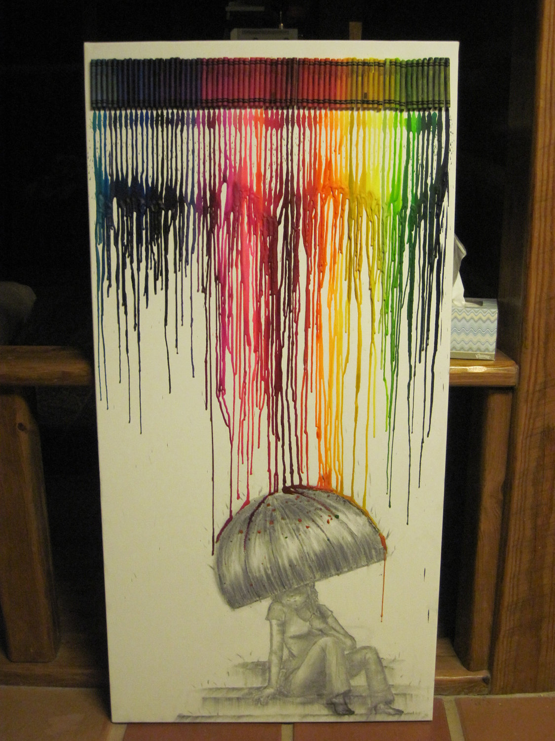 hecallsmeadork:  Melted crayon art.