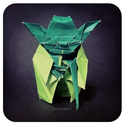 "✳ ORIGAMI YODA ✳ ""When you look at the dark side, careful you must be … for the dark side looks back."" (YODA). This is one of the coolest origami designs ever! This is a design from Kawahata Fumiaki, it was my first try of folding this, I hope to do it better next time😊 #origami #starwars #jedi #yoda #geek #paper #origamiyoda #awesome #lol #funny (Taken with instagram)"
