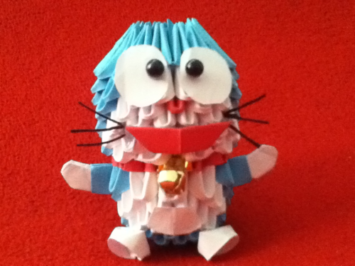 3d origami doraemon! The bell actually rings!