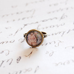 Little Girl and a Cat Ring by Juju Treasures