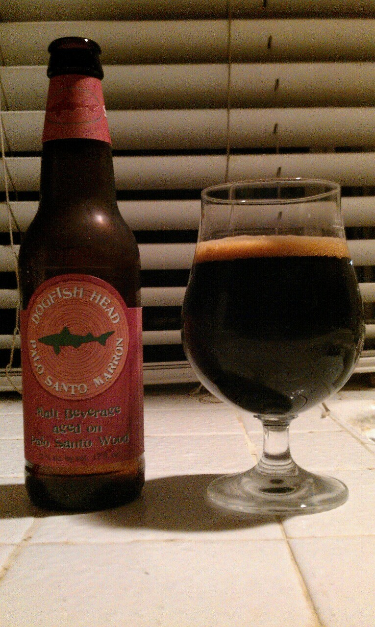 Dogfish Head - Palo Santo Marron ('11?) (Brown ale, 12% abv) hot! but good. kinda stout-like. would age to reduce the hotness cheers bru!