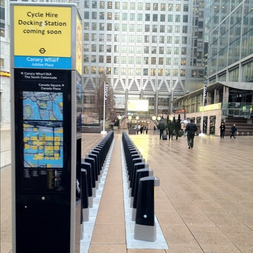 The future is soon #cyclehire #dockingstation #london #tfl #barclayscyclehire #canarywharf #eastlondon #england #greatbritain #unitedkingdom #paving #jubileeplaza #distance #comingsoon (Taken with Instagram at Canary Wharf Underground station)