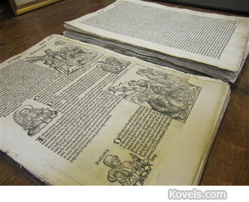 "vintageanchor:  A 500-year-old book published soon after Johannes Gutenberg invented the  printing press turned up at an appraisal day at a museum in Sandy, Utah. The  owner of the book brought it to the event in a plastic bag. He said it belonged  to his great uncle and was kept in the attic for years. The illustrated  German-language book, titled ""Nuremberg Chronicle,"" was published in 1493.  Two-thirds of its pages are missing, its condition is poor, and a few hundred  copies of the book still exist. But the appraiser, Ken Sanders, is thrilled to  have identified the book. It is made of cotton bond paper, not wood pulp, and  smells like an old book. It's a tattered piece of history worth up to $50,000."