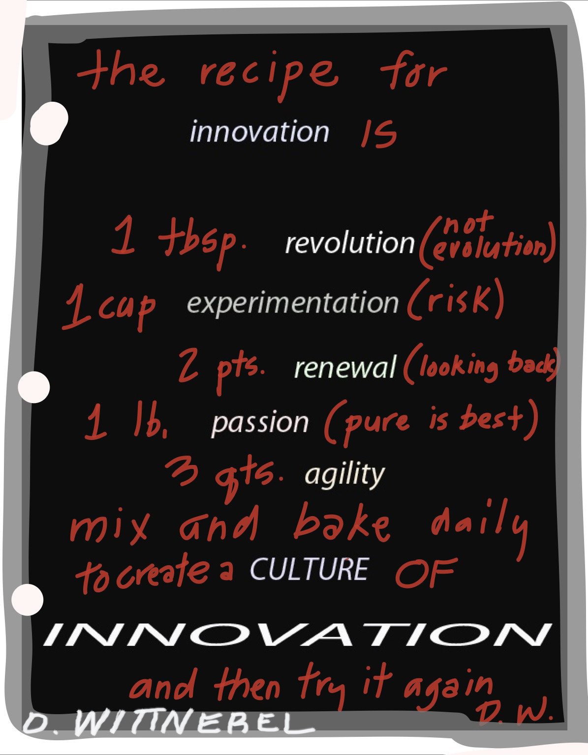 The recipe for innovation: create a culture of innovation.
