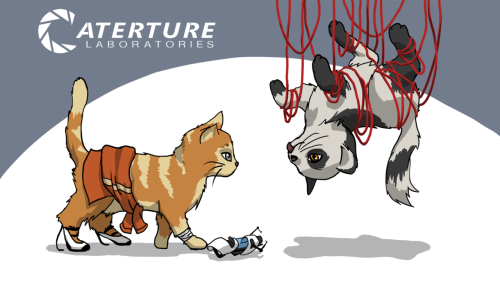 Wallpaper: Portal Kittens by ~GryphElyse