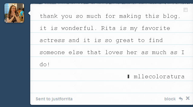 Thank you so much! I'm always happy to see how many people admire and love Rita too! :)