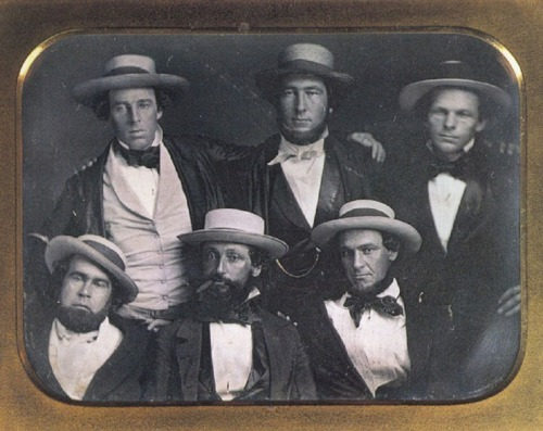 "The New York Knickerbockers Baseball Club, clockwise from top left:  Alfred Cartwright, Alexander Cartwright, William Wheaton, Henry Tiebout Anthony, Daniel ""Doc"" Adams, and Duncan Curry, ca. 1847."