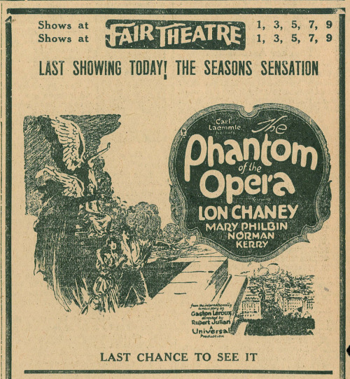 Ad for The Phantom Of The Opera (1925) starring Lon Chaney