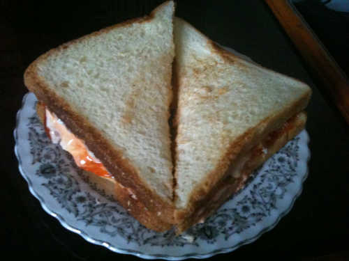 Morning sandwich presented by beloved wife ^^