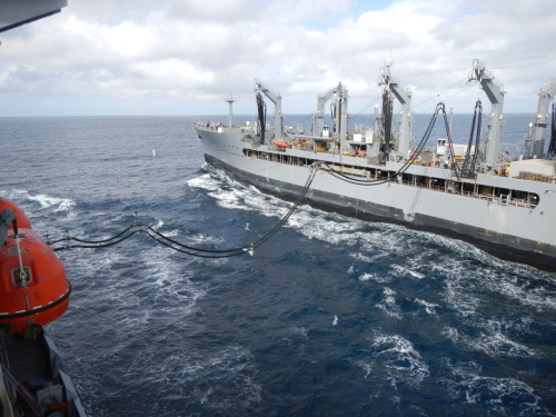 Our underway replenishment with the Yukon while underway.