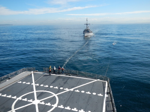 Our last underway replenishment was an astern refueling with a minesweeper from the US Navy