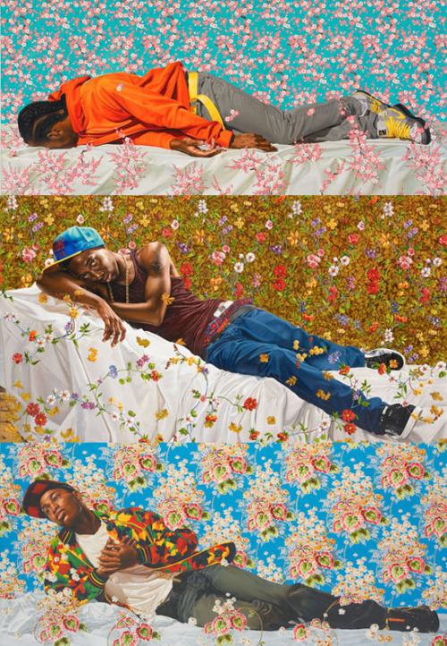 skabritches:  madecunningly:  akitron:  limpwristsraisedfists:  kehinde wiley.  OH MAN I LEARNED ABOUT HIM AND ART HISTORY AND HE'S LIKE MY NEW FAVE he takes dudes like these guys and lets them pick out/chooses an older picture to emulate and it's a really interesting dichotomy between the hypermasculine way we're supposed to think of black men and the way masculinity was thought of back in the day! SO COOL RIGHT  If I'm remembering right, there is a GINORMUS piece by him in the Minneapolis Institute of Art. It's, in case you missed it, HUGE, and beautiful.  Oh god, I remember talking about that piece for art history! It's so enormous and amazing.