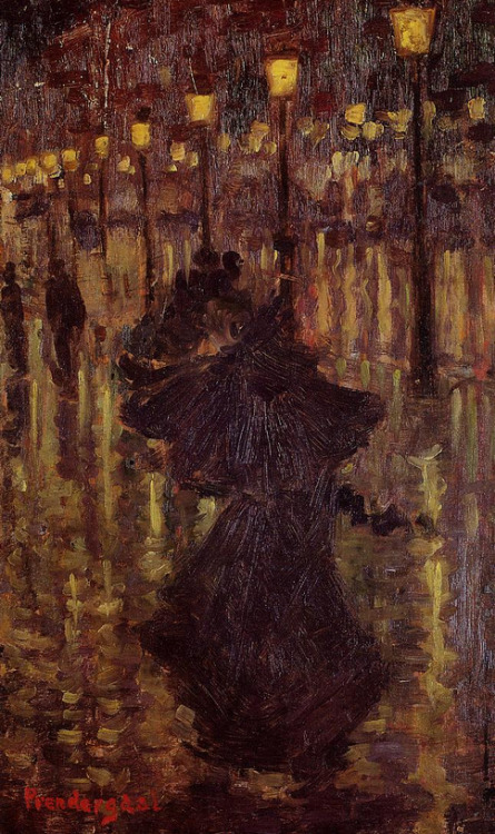 cavetocanvas:  Maurice Prendergast, Evening Shower, Paris, c. 1892-94