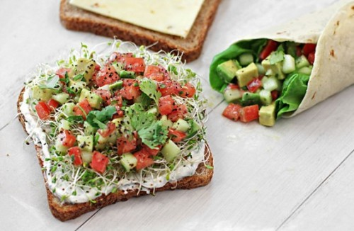 "eathealthyrunfar:  ""California Sandwich"" — Whole wheat toast topped with chive yogurt spread, sprouts, and a cilantro-lime avocado, tomato, and cucumber salad."