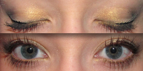 Eye makeup of the day: Gold Smoke Products Used: Urban Decay Eye Primer Potion - Rating: 10/10 Loreal HIP Studio Secrets Professional eyeshadow duo in the color Flamboyant - Rating: 10/10 Rimmel London Glam Eye quad in the color 013 Sweet Smoulder - Rating: 10/10 NYX Slide on, Glide on, Stay on & Definitely a turn on, waterproof, extreme shine eye liner (Yes, it's a mouthful) in the color Glitzy Gold - Rating: 10/10 (Love it!) Maybelline Line Stiletto liquid eyeliner in the color Pure Black - Rating: 10/10 Maybelline One by One Volume Express mascara - Rating: 8/10
