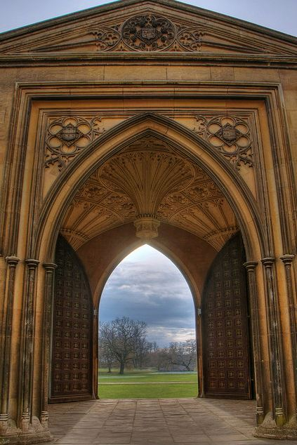 Cambridge, England. Arch of Grand Entrance at St. John's College.