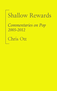 shallowrewards:  Notes on Shallow Rewards: Commentaries on Pop 2005-2012 (an eBook) 1. This eBook contains roughly eighty-thousand words, almost all of them previously available online. 2. It took me about a month to pull this together. I used Apple's Pages in order to avoid Microsoft HTML metadata, though I believe this is no longer an issue in Word 2010. With an .epub export of the finished book, I downloaded Amazon's Kindlegen tool to create a Kindle-native .mobi file. Initially it looked terrible, so I tracked down a .mobi unpacker, which explodes the .html and component files. Using TextWrangler to tighten the .mobi's blend of HTML, XML and CSS, I tried to get close enough to cross-platform compatibility that I would feel comfortable charging for the finished product. 3. Layout is optimized for the Kindle Fire; barring tight text flow around images and some minor formatting, it's essentially the same on the iPad and iPhone, via the Kindle App (please see their site for further platform information). I chose Kindle Direct Publishing for the same reason as most self-published authors: Apple is not interested in supporting self-published authors. The new iBooks format is wonderful and easy to use, but the company's insistence on platform and marketplace monogamy is asinine. I would also impugn their stance on royalties, if they offered any. 4. Kindle's exclusivity programs return a remarkable 70% via direct deposit to the author's checking account. With a list price of $5.99, I receive nearly $4 for every copy sold. That beats any other royalty arrangement I've seen, while presenting a very attractive list price to my audience. Which is not to suggest a windfall is in order, just that Amazon's policies put the creator first, and the distributor second, which is how it should be. 5. All text and links in this book were re-edited during January 2012 and can be updated easily in the Kindle marketplace, if there is a need for future editions or corrections. As I understand it, paying customers will find their copies of the book automatically updated if and whenever this occurs. Thanks to everyone who's read and enjoyed my work; and especially to everyone who has not, but has taken the time to tell me why.