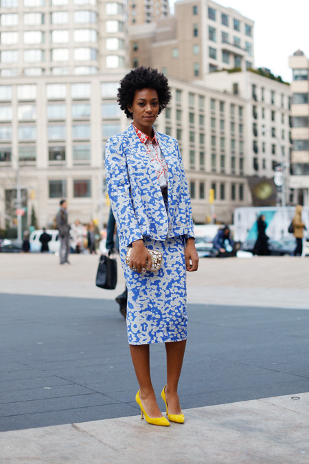 what-do-i-wear:  Solange during NYFW, ever so beautiful in this Diane von Furstenberg look (image: alltheprettybirds)