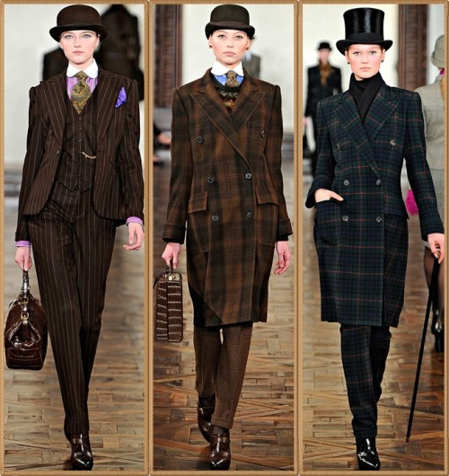 femmedandy:  teacupcake:  kawaiimon:Ralph Lauren, Fall 2012 RTW  Reblogging mainly for the leftmost: choice use of color accenting an uncompromising cut. I do, however, love the lady on the right's use of top hat and cane, and the shoes on all are fabulous.