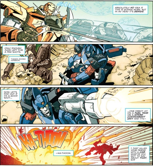 From The Transformers: More Than Meets The Eye #2 That car he just blew up?  The corpse of a comrade.