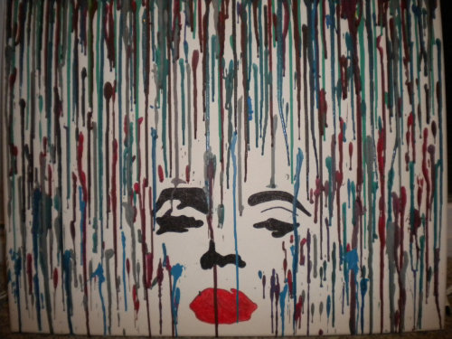 Marilyn Monroe melted crayon art.