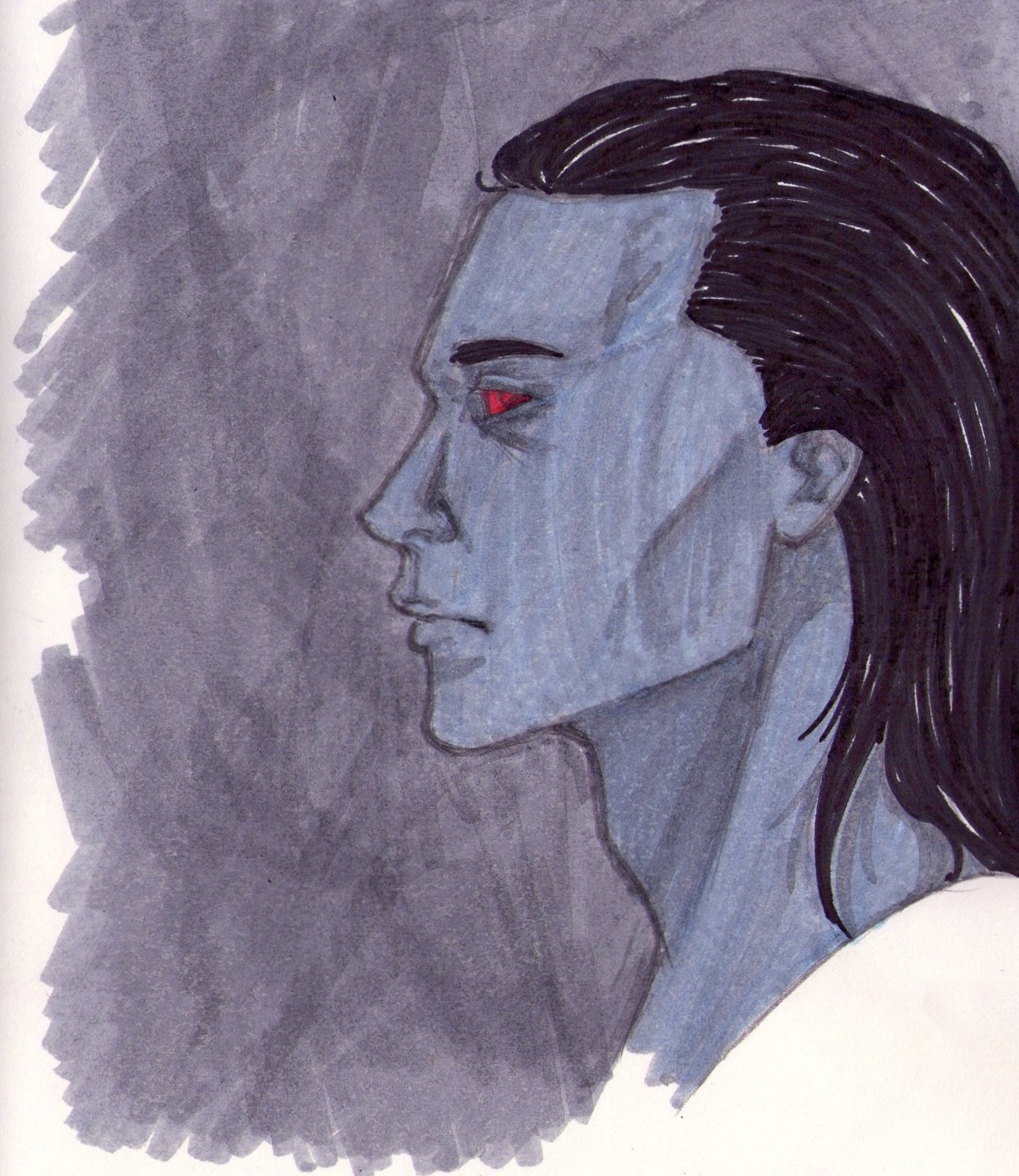 Oh hey guys. I drew Loki again! As a Jotun. But I don't know the designs in his skin, so I let them be. Also, he's looking a tad grey…