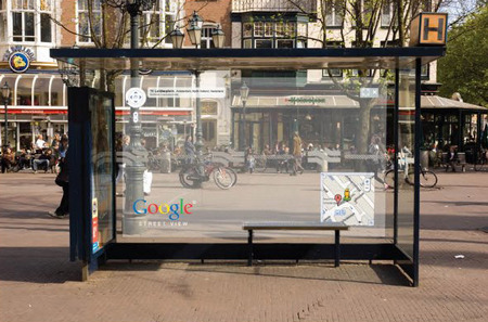 adhibition:  Creative way of Google to show the function street view, but in a real setting!