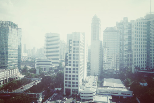 Jakarta Sky Scrappers.  taken from prince center building 14th floor at universal music indonesia hq.