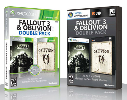 "gamefreaksnz:  Oblivion and Fallout 3 Double Pack announced  Bethesda announced a double-pack release of Oblivion and Fallout 3 today.  ""We aren't being allowed to release it for PS3,"" says Bethesda.  ""If that changes at some point, we'll let folks know.""   Amazing"