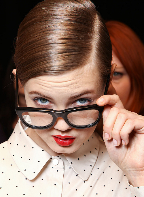 Lindsey Wixson backstage at Marc by Marc Jacobs