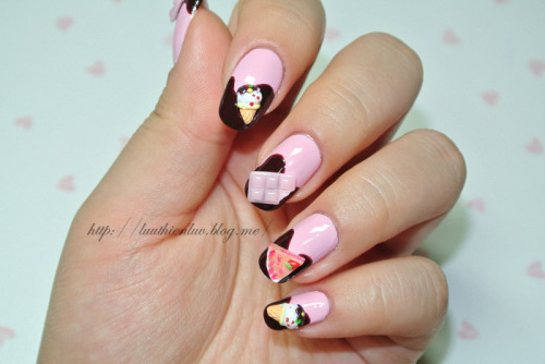 chocolate nailart click through for tutorial (in my korean blog)