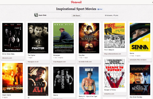 Created my first Pinterest board: Inspirational Sport Movies. Feel free to add more…
