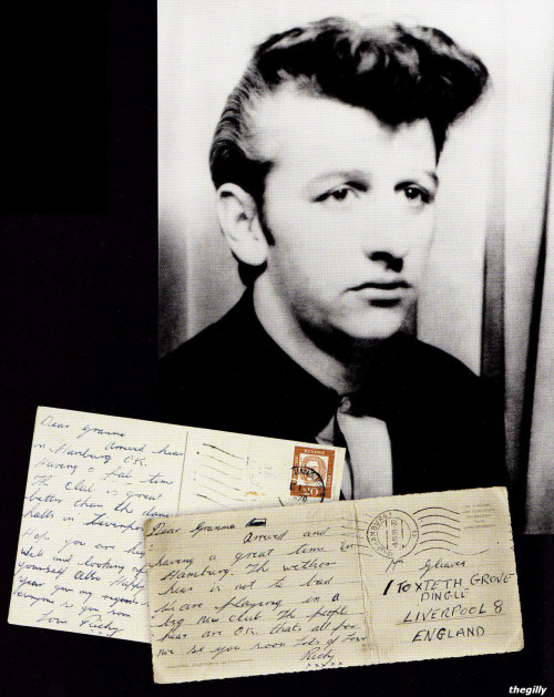 Two postcards Ringo sent home to his grandmother when he was in Hamburg with Rory Storm. In case it's hard to read, it reads (spelling errors and all): Dear Granma,Arrived hear in Hamburg OK. Having a fab time. The Club is great. Better than the dance halls in Liverpool. Hope you are keeping well and looking after yourself. Happy New Year give my regards to everyone se you soon.Love Richy Dear Granma,Arrived and having a great time in Hamburg. The wether hear is not to bad. We are playing in a big new club. The people hear are OK. Thats all for now se you soon.Lots of love, Richy xxxxxx