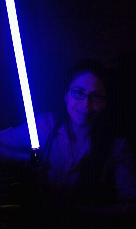 My wife with her mace windu light saber
