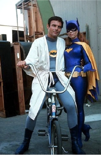 Adam West and Yvonne Craig (as Batman and Batgirl) beside the Bat-bike.BATMAN cycling - my work here may be done.