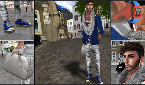 Location: Luxembourg City  OUTFIT  Shirt&Cardigan: [Sleepy Eddy] V-Neck cardigan (Blue) Pants: AMERIE M - Mesh Skinny pants_Denim gray Socks: Pig - Socks Mit Suspenders Blue Shoes: UBU PornStar Lo-Tops ACCESSOIRES  Plugs: Nox. Chromatic Tunnels [White] Noseexpander: Cobrahive - Nose Swirl 00 Scarf: [LeLutka] Chunky Monkey Scarf/white Watch: Reek - Calculator Watch Bag: {mon tissu} Weekend Traveler / Mesh ~ Gray BODY  Skin: *KENTO* Josh_T4_F0_H1_P0 - Vegas Hair: 99elephants Hair -IEKELENE -blacks Hairbase: AITUI - Standard Hair Base - 001 - Black Eyes: <A> EYES [Warrior][Pine] Teeth: [ PXL ] Mouth_open_Addon_v6 Beard: NANUK bjorn beard black with sideburns Tattoo: Ink'D Up! :Notorious: (Hella Faded)