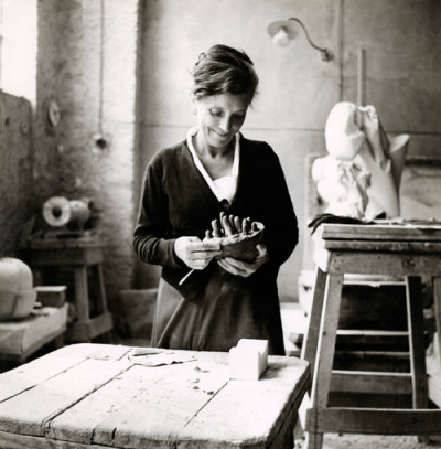 artistandstudio:  Louise Bourgeois working on Sleep II (Dream II), Italy, 1967. Photo: Photographic Studio, I. Bessi, Carrara.  main squeeze
