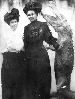 Two Woman Posing with Stuffed Alligator in Florida, Circa 1910s, Courtesy of Florida Memory