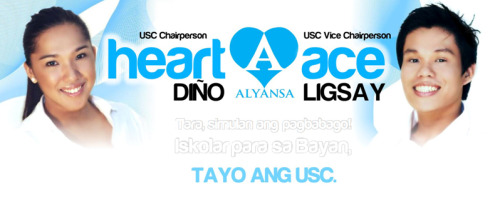 TOGETHER, WE CAN MAKE HISTORY! Tara, simulan ang pagbabago kasama sina:Heart Diño for USC Chairperson! Ace Ligsay for USC Vice Chairperson!VOTE STRAIGHT ALYANSA sa USC ON MARCH 1!Iskolar para sa Bayan, TAYO ANG USC.