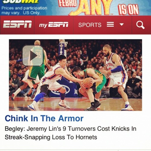 YO ESPN WHATS UR DEAL? SWEATING ME ONE DAY AND THE NEXT CALLING ME A CHINK???/?