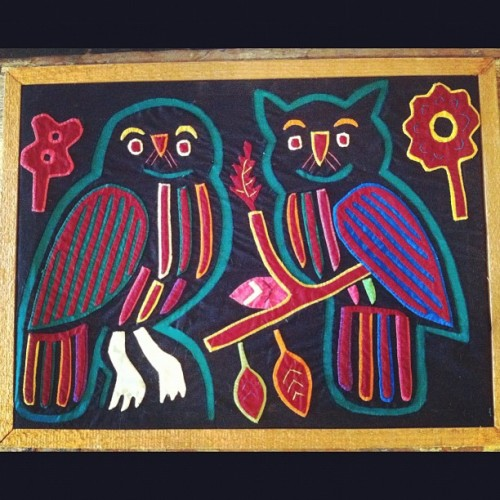 Mola fabric art. These owls are always happy. $30