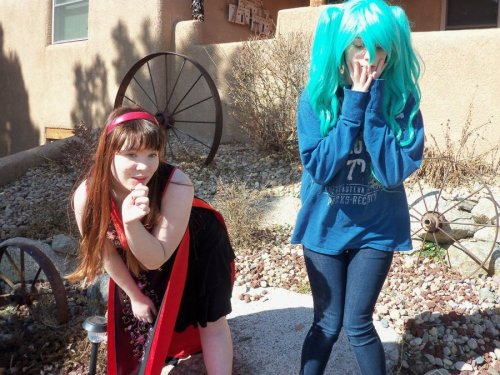 "found on dA. a bad Miku closet cosplay and her ""gesha"" friend. artists comments: ""Yes yes, Luna is a gesha. a sex toy for miku. of course. cause kaito is gay. for len. BAM. SURPRISE BUTT SEX.""  … what. why…"