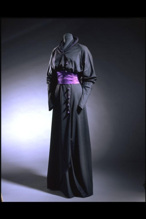 "mumblingsage:  yamino:  iamingrid:  yamino:  omgthatdress:  Half-Mourning Dress 1910-1912 The Victoria & Albert Museum  What's a ""half-mourning"" dress?  Mourning in the front, party in the back?  Half-Mourning was the third stage of mourning for a widow. She would be expected to mourn her husband for at least two years, the stages being Full Mourning, Second Mourning and Half-Mourning. The different stages regulated what they would be wearing, with Full Mourning being all black and with no ornamentation, including the wodow's veil, and the stages after that introd"
