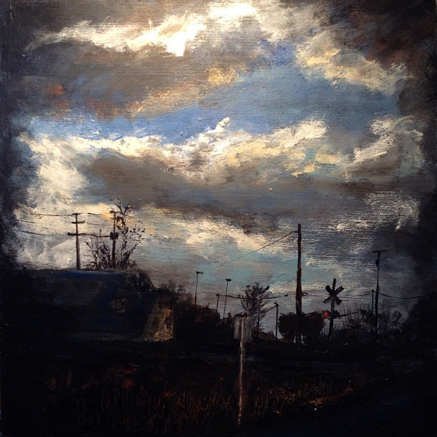 I hear the train all night. #rva #skycables #lookup @instagram painting  (Taken with instagram)
