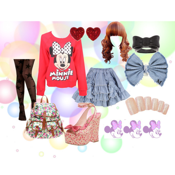 ☆Minnie☆ by sugar-dolll featuring heart jewelryForever 21 top, $23Sheer hosiery, $28Betsey Johnson wedge heel shoesASOS back pack bag, $63Heart jewelry, $8.99ASOS bow jewelry, $6.74Maison Michel hair bow accessory, €230Glittery Soft Pink Nail Chips, 8.90 SGDBleached Chambray Bustle Skirt - Paper Wings - Buckets and Spades for…, 85 AUD