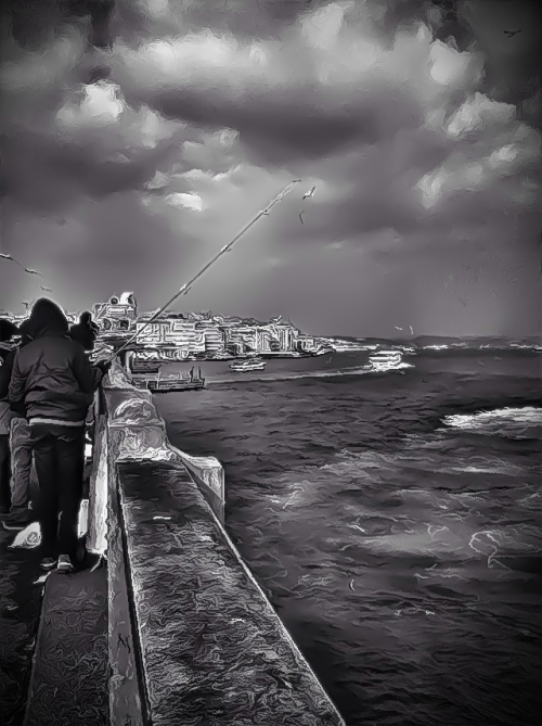 Fishermen over Galata Bridge