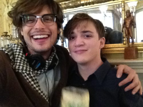 "gublernation:  me and my old friend kyle gallner (the bill murray of dramatic actors under 30) on the set of ""heathridge manor"" woohoo!!!"