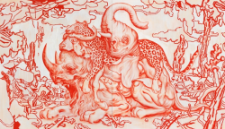 "iheartmyart:  James Jean, Big Five, Oil on Two Canvases, 60 x 104"", 2011."