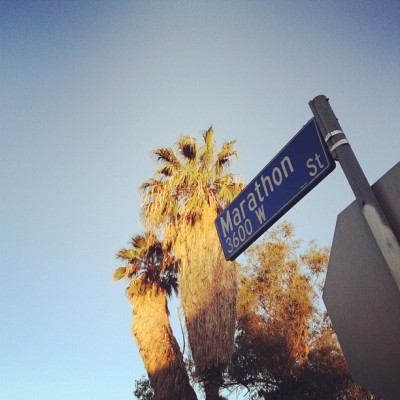 shutupandrun:  All signs point to … #BRxBLN #bridgerunners #marathon (Taken with Instagram at Los Angeles)  Barefoot marathon - Ken Bob has probably already been down this road!